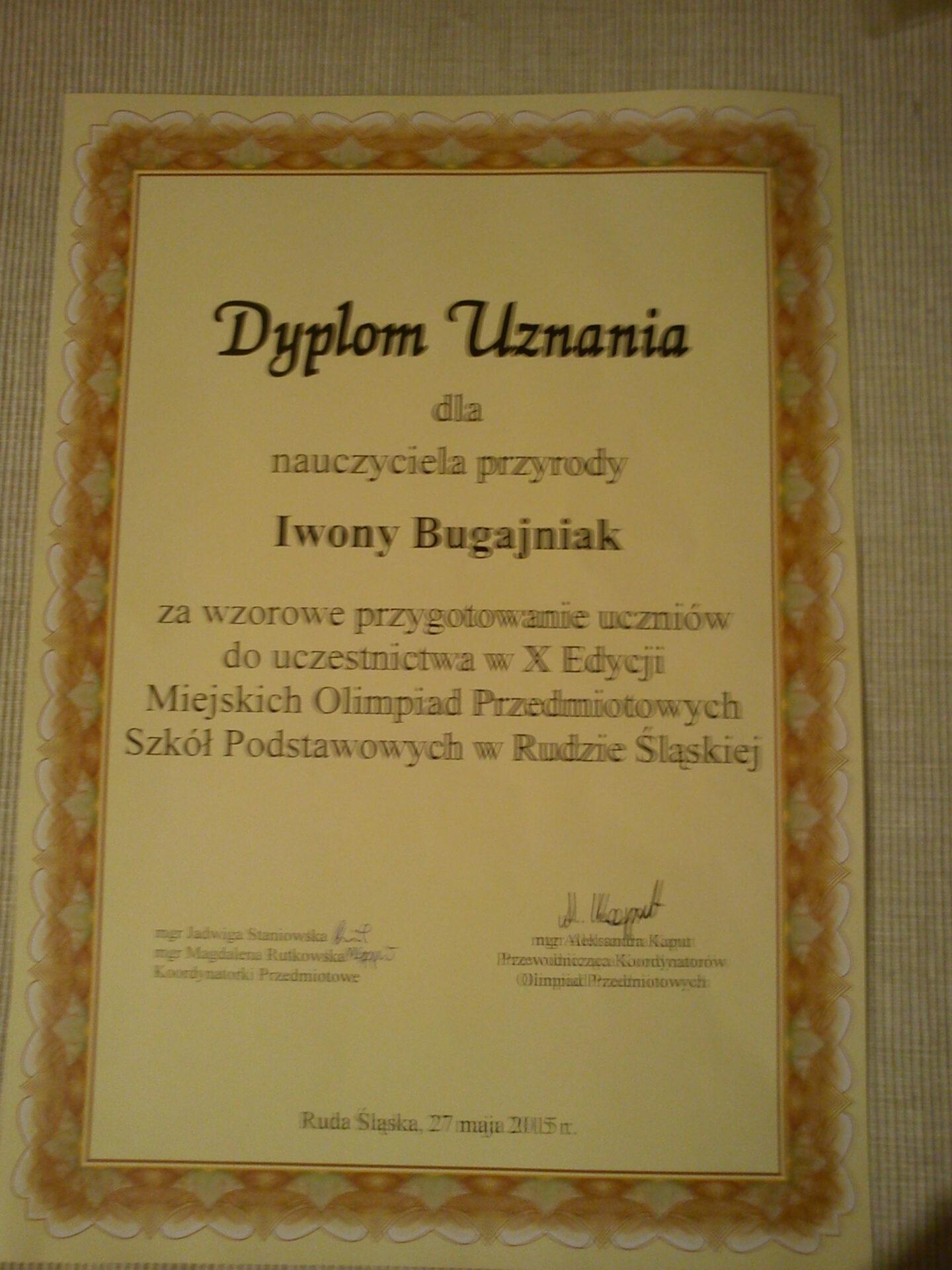 Dyplom dla Pani Iwony Bugajniak nauczyciela przyrody - GRATULACJE