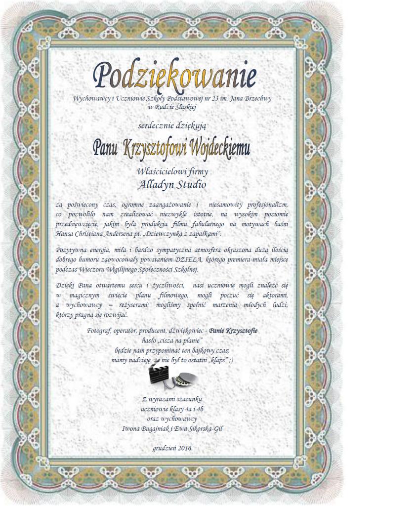 Podziękowanie p. K. Wojdecki